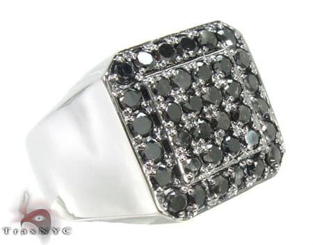 TraxNYC Light  Black Diamond 14K White Gold Ring Stone