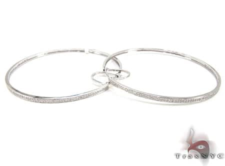 White Gold Big Prong Hoops 2 Stone