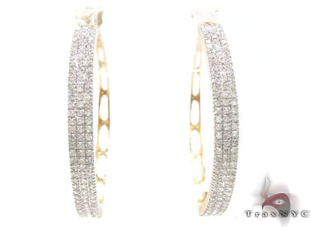 Yellow Gold Three Row Chunky Hoops Stone