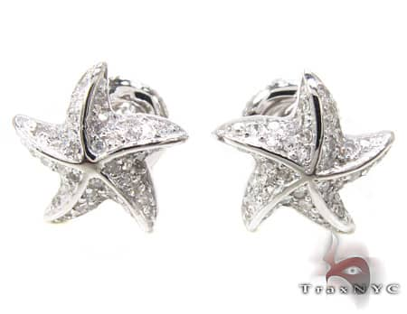 White Gold Starfish Earrings 6 Diamond Earrings For Women