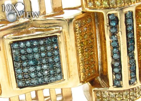 Yellow Gold Blue and Canary Bullet Bracelet Diamond
