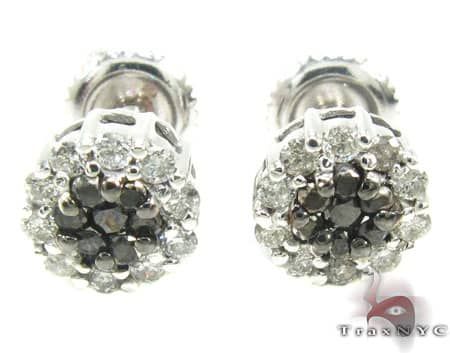 Black and White Flower Cluster Earrings Stone