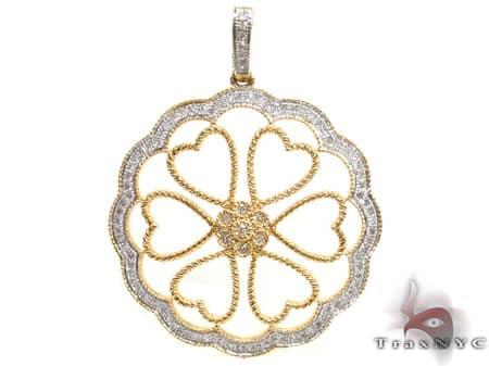 Yellow Gold Heart Flower Pendant Stone