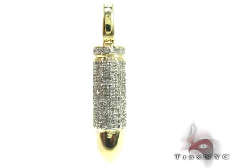 Yellow Gold White Bullet Pendant Metal