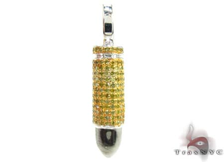 White Gold Canary Bullet Pendant Metal