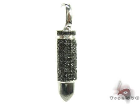 White Gold Black Bullet Pendant Metal