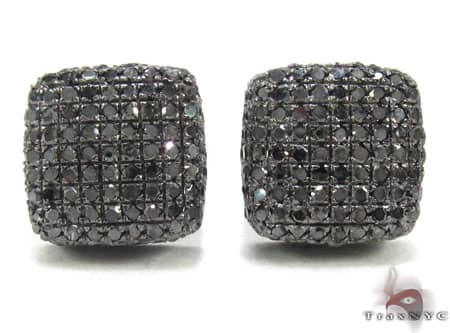 Black Diamond Pillow Earrings Stone