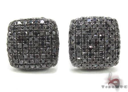 Black Diamond Pillow Earrings 2 Stone