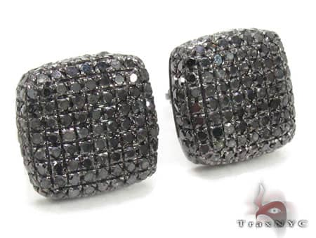 Black Diamond Pillow Earrings 2 Stone