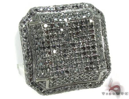 Black Octagon Ring 2 Stone