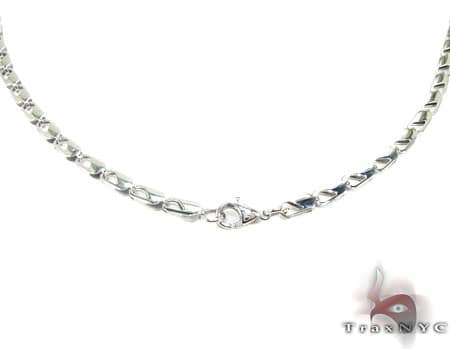 White SS Linked Chain 40in, 4mm, 19.6 Grams Stainless Steel