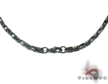 Black SS  Heavy Linked Chain 40in, 3.5mm, 46.2 Grams Stainless Steel