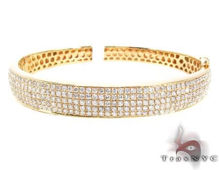 White Gold 5 Row Icy Bangle Diamond