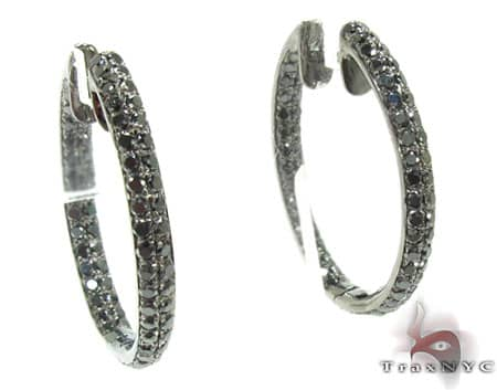 2 Row Black Diamond Hoops Earrings Style