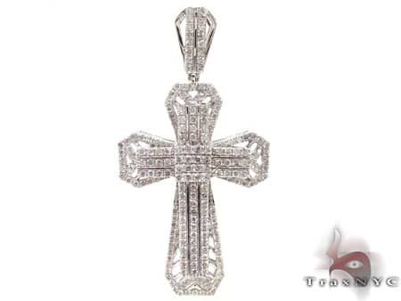 White Gold Tyler Cross Mens Diamond Cross