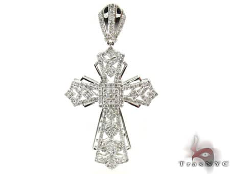 White Gold Fancy Cross Mens Diamond Cross