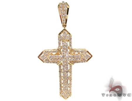 Yellow Gold Centered X Cross Diamond
