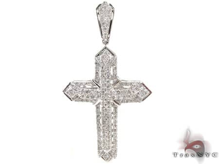 White Gold Centered X Cross Mens Diamond Cross