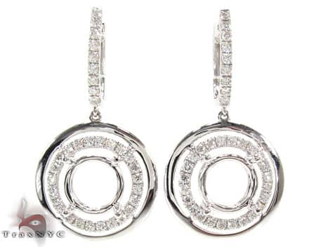 Ladie's Diamond Earrings For Women White Gold 18k Round Cut G Color VS 1.28ct