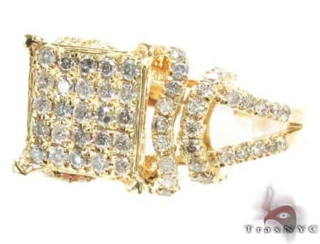 Yellow Gold Cuban Ring Anniversary/Fashion