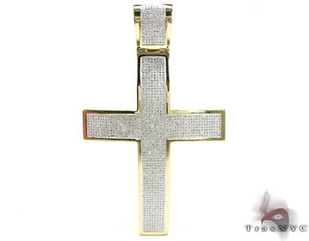 Yellow Gold XL Pave 10K Cross Diamond