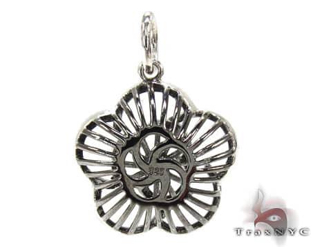 Black Rhodium Sterling Silver & Diamond Flower Pendant Stone