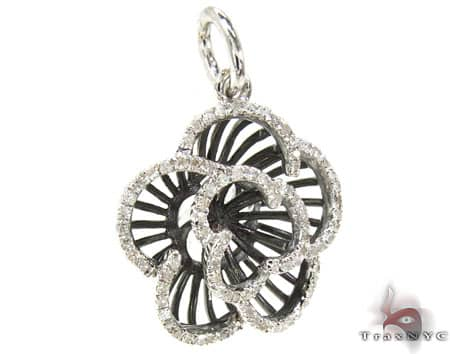 Black Rhodium Sterling Silver & Diamond Flower Pendant Stone