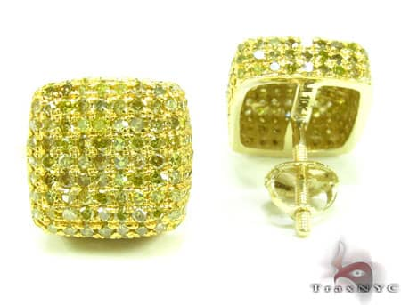 XL Canary Diamond Ice Pillow Earrings Stone