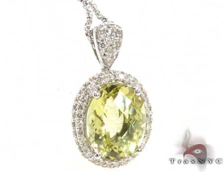 Lemon Quartz and Diamond Necklace Stone
