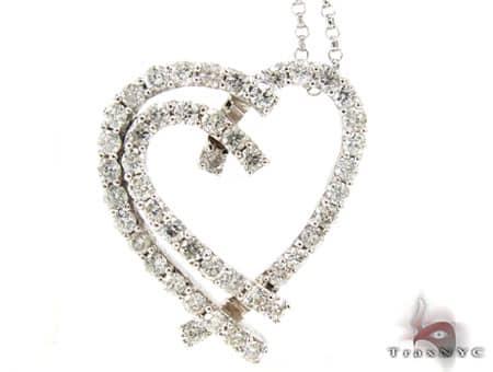 Asymmetrical Heart Pendant & Chain Stone
