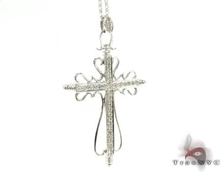 Ladies Cross Pendant & Chain Stone