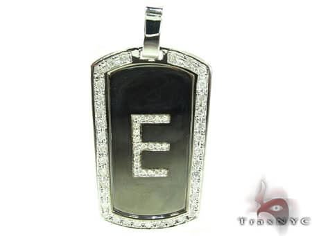 E Initial Dog Tag Pendant Metal