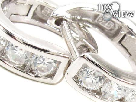 14mm Clear CZ Huggie Earrings Metal