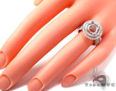18K Gold 2 Row Circle Diamond Semi Mount Ring 25645 Engagement