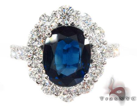 18K Gold Blue Sapphire Diamond Ring 31543 Anniversary/Fashion
