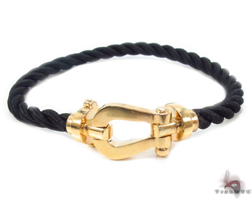 18k Gold Black Rope Bracelet 34721 ロープ ブレスレット