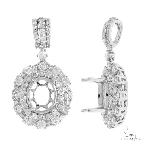18k White Gold Diamond Semi-mount Pendant Necklace Style