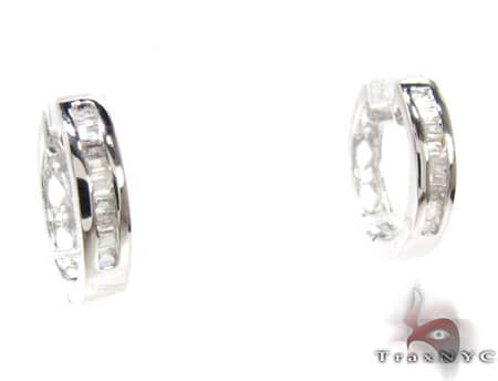 Ladies -Sterling-Silver Diamond Earrings 19049 Stone