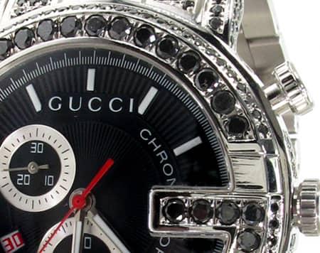 Fully Iced Black Diamond Gucci 101G Chrono YA101309 Gucci