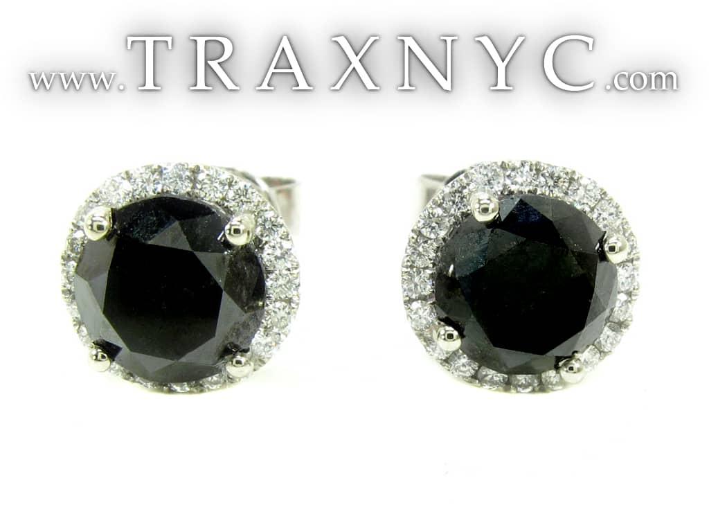 Black Euphoria Earrings 2 Black Diamond Earrings for Men White Gold 14k