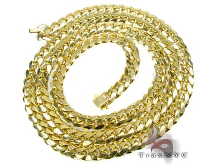 10K Solid Yellow Gold Miami Chain 36 Inches 7mm 194.7 Grams Gold
