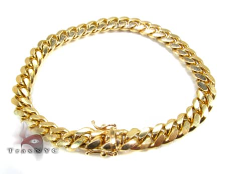 Yellow Gold Miami Bracelet 9 Inches 9mm 49.2 Grams Gold