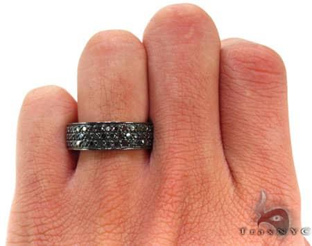 3 Row Black Diamond Ring Stone