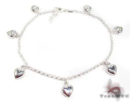 Ladies Silver Heart Charm Bracelet 19607 Silver & Stainless Steel