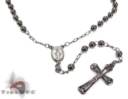 Black Dipped Silver Rosary Chain Silver