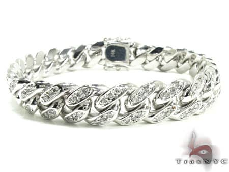 Diamond Miami Link Bracelet Mens Diamond Bracelet White Gold 10k