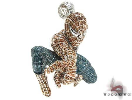 Custom Jewelry - White Gold Spiderman Pendant Metal