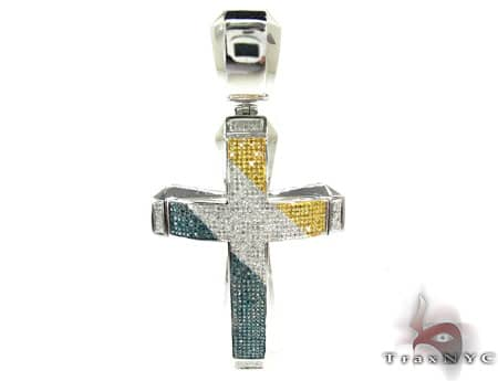 Tri Color Aristocrat Cross 2 Mens Diamond Cross