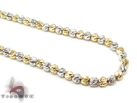 Two Tone Moon Cut Chain 22 Inches 2.5mm 14.1 Grams Gold