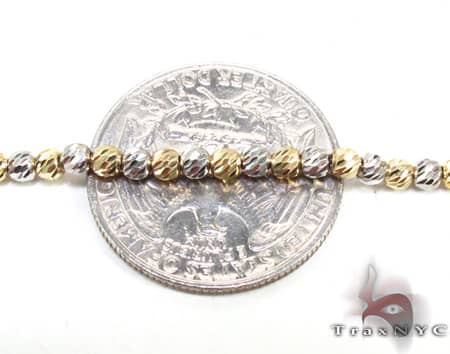 Two Tone Moon Cut Chain 20 Inches 2.5mm 12.8 Grams Gold